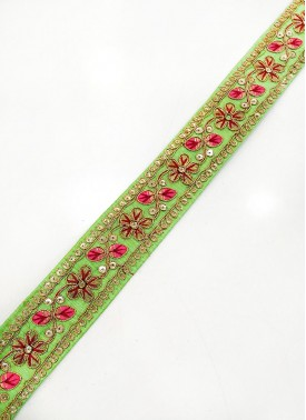 Pista Lace Trim Border in Cording and Embroidery Work