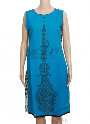 Pleasing Blue Black Cotton Kurti