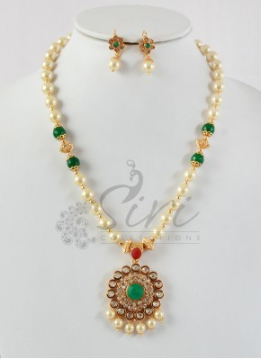 Polki Pendant Set in South Sea Pearls Alike Beads and Green Stone