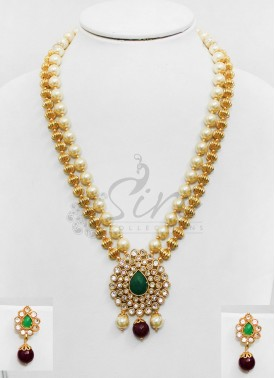 Polki Pendant Set with Green Stone in Gold Balls and Pearls