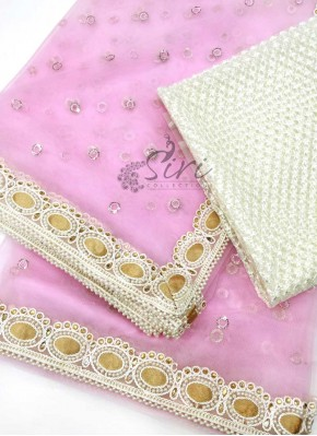 Pretty Baby Pink Offwhite Beautiful Designer Net Saree