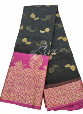 Pretty Black Magenta Cotton Kota Doria Saree