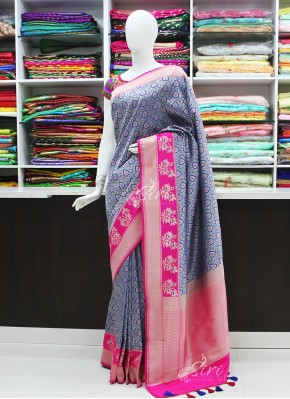 Pretty Blue and Magenta Pink Banarasi Silk Saree in allover Design