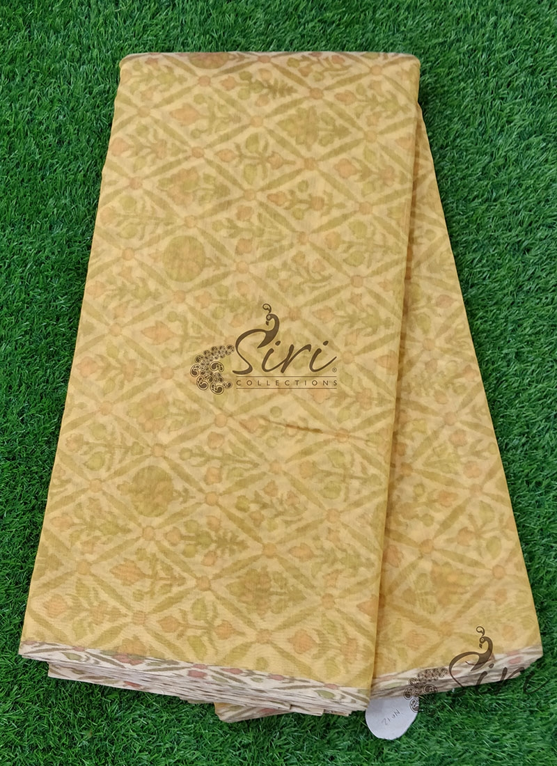 Pretty Chanderi Fabric with Ikkat Printed Design