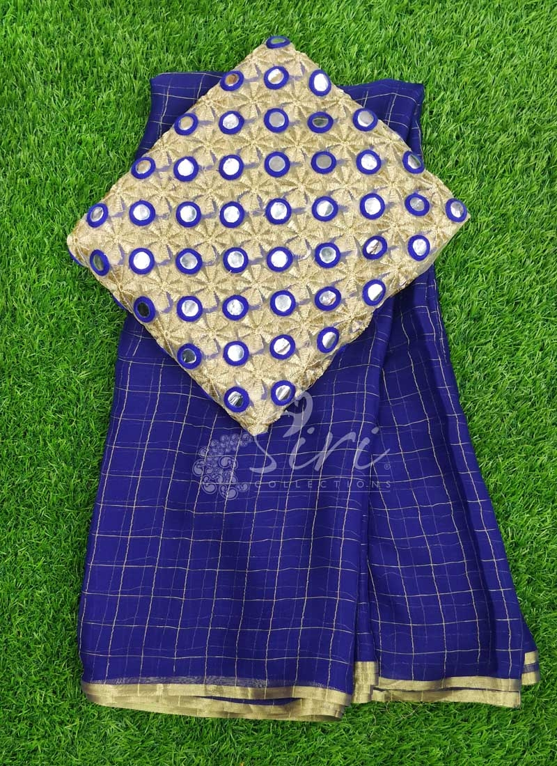 Pretty Chiffon Saree in Zari Checks With Designer Blouse Fabric