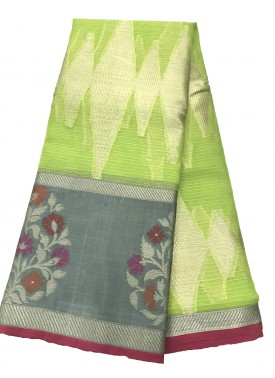 Pretty Green Banarasi Fancy Saree in Contrast Border and Rich Pallu
