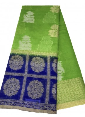 Pretty Green Banarasi Kora Saree in all Over Buti Design with Blue Contrast Border