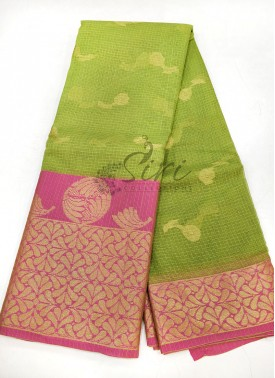 Pretty Green Pink Cotton Kota Doria Saree