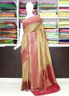 Pretty Off White and Red Banarasi Silk Saree