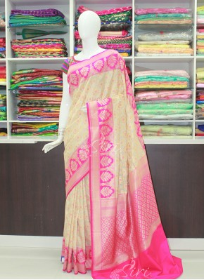 Pretty OffWhite Pink Banarasi Silk Saree in Contrast Pink Border and Pallu