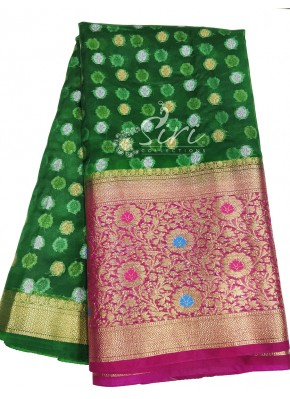 Pretty Organza Fabric with Gold Kanchi Alfi Border