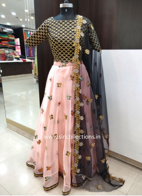 Pretty Organza Lehenga with Black Raw Silk Crop Top and Dupatta in CutWork Finish