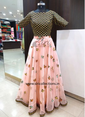 Pretty Organza Lehenga with Black Raw Silk Crop Top in CutWork Finish