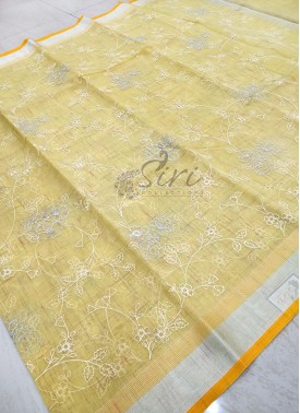 Pretty Pastel Yellow Organza Saree in Allover Embroidery Work