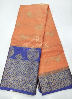 Pretty Peach Blue Cotton Kota Doria Saree