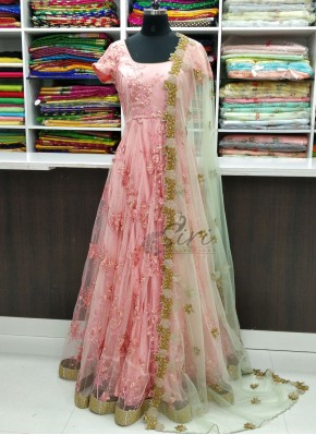 Pretty Peach Long Frock with Cut Work Dupatta