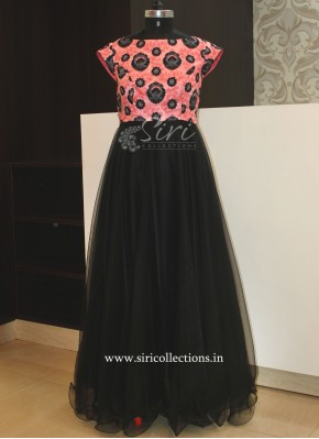Pretty Peachy Pink Black Net Long Frock