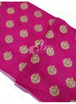 Pretty Pink Chanderi Fabric in Gold Embroidery Work Per Meter