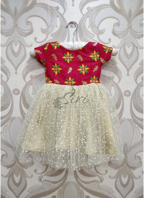 Pretty Pink Cream Colour Kids Frock for 1 year Old