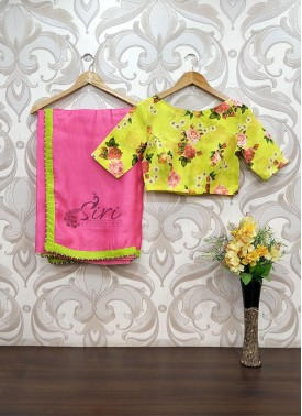 Pretty Pink Exclusive Designer Saree Teamed with Digital Print Blouse
