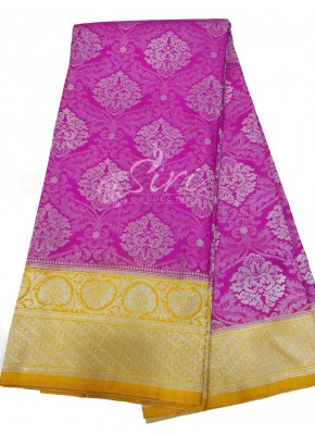 Pretty Pink Fancy Banarasi Silk Saree in Silver Zari with Contrast Border