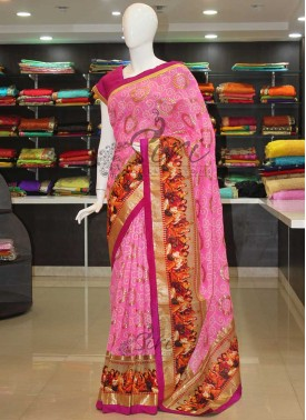 Pretty Pink Bhagalpuri Silk Saree in Rich Border