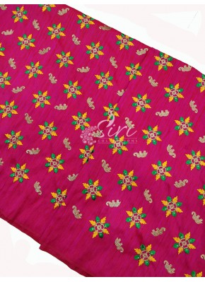 Pretty Pink Raw Silk Fabric in Embroidery Work Per Meter