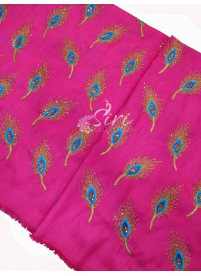 Pretty Pink Raw Silk Fabric in Peacock Feather Embroidery Work Per Meter