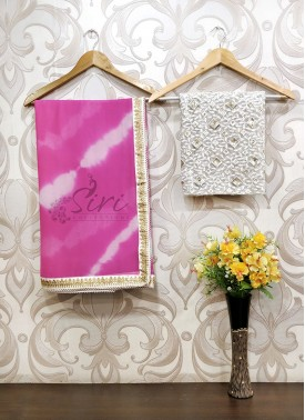 Pretty Pink Shibori Georgette Saree in Designer Borders