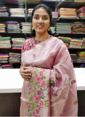 Pretty Pink Tissue Organza Saree in Embroidery Work