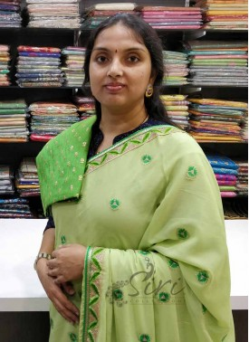 Pretty Pista Apple Green Chinon Crepe Saree in Cute Flower Butis