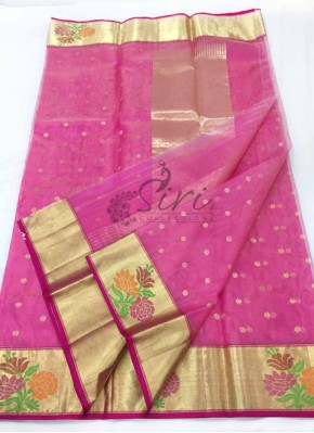 Pretty Pure Pink Chanderi Silk Saree in Rich Borders