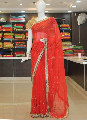Pretty Red Chiffon Saree in Stone Cut Work Borders