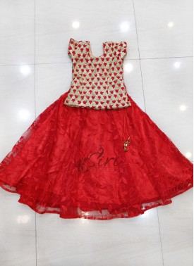 Pretty Red Gold Kids Lehenga Blouse for Six Year Old