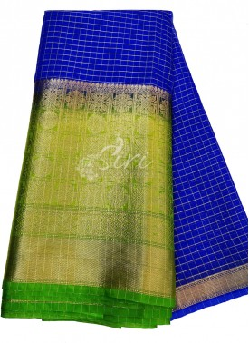 Pretty Royal Blue Organza Checks Fabric with Contrast Kanchi Border per meter