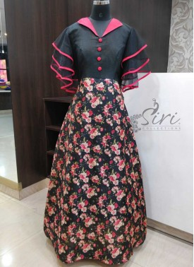 Pretty Ruffle Sleeved Maxi Dress Ankle Length Long Frock