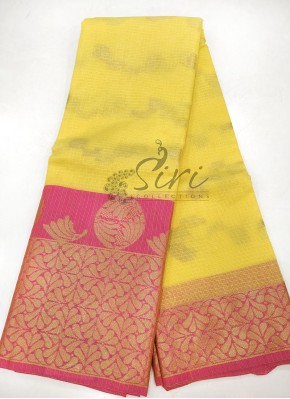 Pretty Yellow Pink Cotton Kota Doria Saree