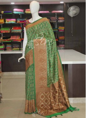 Printed Banarasi Dupion Silk Saree in Antique Zari