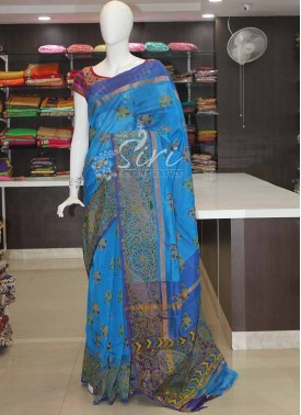 Printed Blue Mangalgiri Pattu Saree
