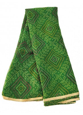 Printed Chiffon Saree in Gold Print Border