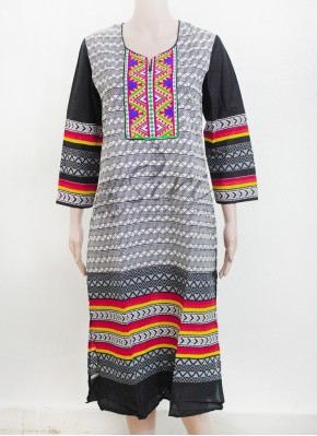 Printed Cotton Kurti in Embroidery Work