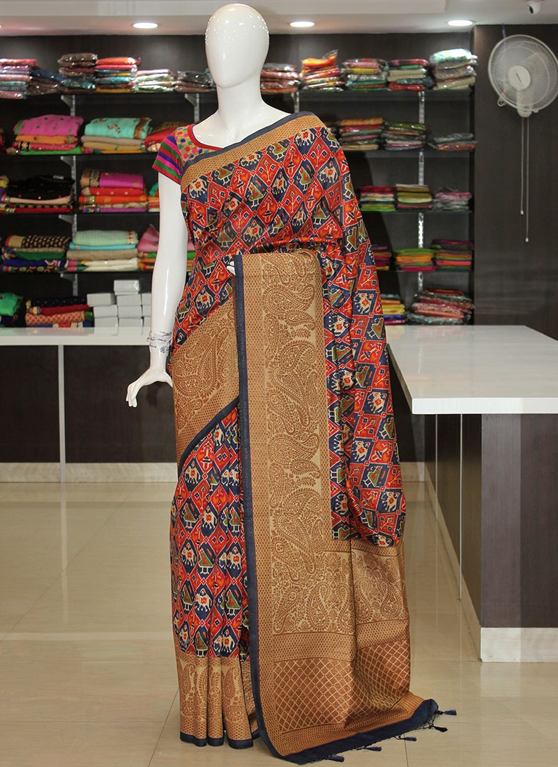 Printed Dupion Silk Saree in Antique Zari Borders