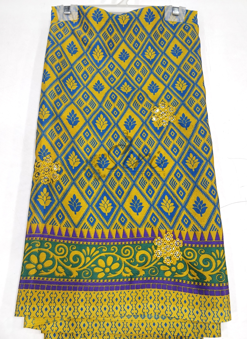 Printed Fancy Crepe Saree in Embroidery Sequins Work Butis