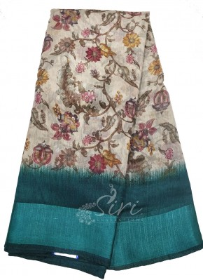 Printed Fancy Linen Cotton Blend Saree in Satin Finish Borders