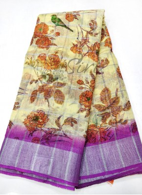 Printed Fancy Linen Saree