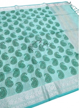Printed Fancy Linen Saree in Kanchi Style Silver Zari Borders