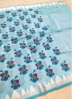 Printed Fancy Linen Saree in Kanchi Style Silver Z