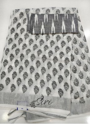 Printed Fancy Linen Saree with Ikat Blouse