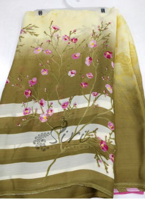 Printed Fancy Wrinkle Crepe Saree