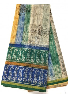 Printed Jute Cotton Saree